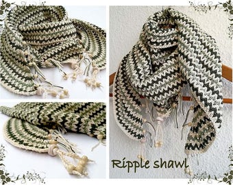 Crochet pattern - RIPPLE SHAWL! Permission to sell finished items. Pattern No. 216
