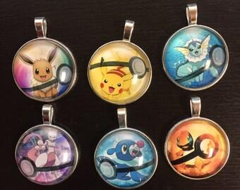 Pokemon Key chain, pikachu, popplio, mewtwo, charmander, evee key chain, pokemon sun, pokemon necklace, pikachu necklace, popplio necklace