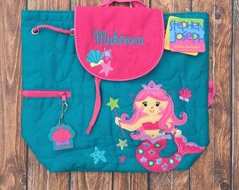 Personalized Mermaid Backpack, Stephen Joseph Mermaid Backpack, Monogram Mermaid Backpack, Mermaid Diaper Bag