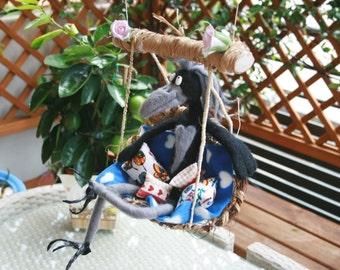 Art doll, handmade Romantic  Crow, felted , artist wool toy, wool crafted toy, teddy