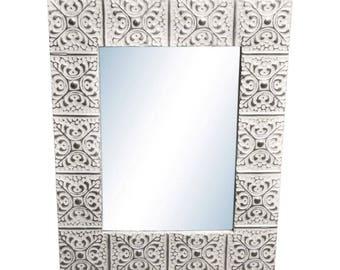 Large Snowflake 22 in. 34 in. Tin Mirror