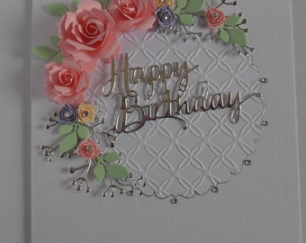 Handmade Personalised Birthday Anniversary Card with Pretty Pink Roses.