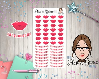 Lips Planner Sticker, Love Planner Sticker, Date Night, Sex, Ovulation Tracking Happy Planner Sticker, Erin Condren, Bullet Journal, FUN-206