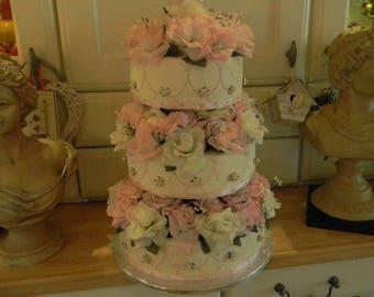 Stunning Ooak Faux/Fake Three Tier Rose Wedding Cake