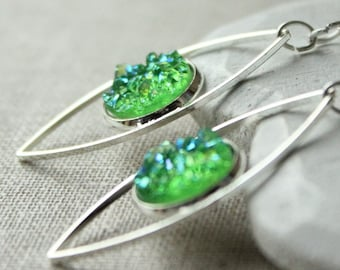 Green Druzy earrings, Druzy dangle earrings, green silver druzy drop, pierced or screw back clips, faux druzy lightweight E302
