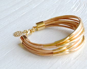 Natural Leather Cuff Bracelet with Gold Tube Beads - Multi Strand Bangle Women's Bracelet ... by  B A L O O S