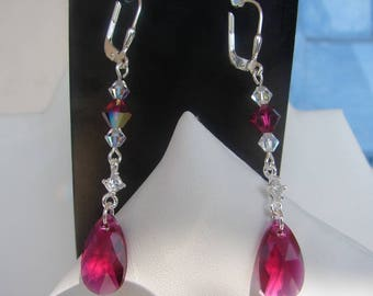 Earring Swarovski ruby and clear AB Sterling silver 925 earrings