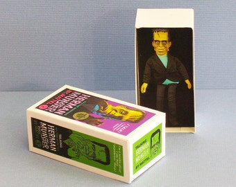 Herman Munster Doll Box  - Dollhouse Miniature - 1:12 scale Dollhouse Accessory -1960s Dollhouse Halloween Haunted House Munsters toy box
