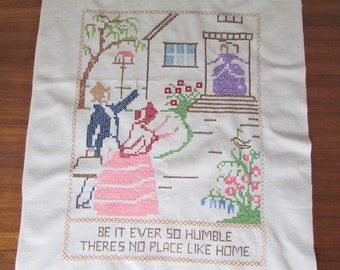 """1960s """"No Place Like Home"""" Table Runner, Cross Stitch with Crochet Edge/ Vintage Handmade Pink Southern Belle, South Tea Towel/ 21"""" X 36"""""""