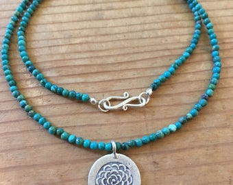 Tiny Turquoise Bead Necklace with Hill Tribe Silver Chrysanthemum Pendant