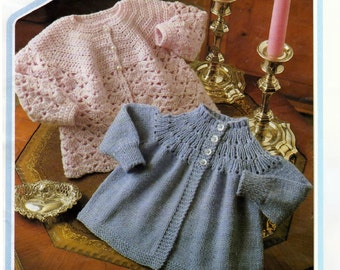 baby knitting/crochet pattern for baby matinee jacket.. 18 / 20 in chest dk yarn