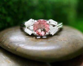 Pink Tourmaline and Diamond Engagement Solid 14K White Gold Colored Stone Wedding Ring *Fine Jewelry* (Free Shipping)