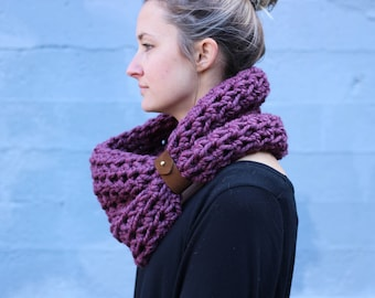 Soft Plum- CHUNKY WOOL Large Cowl Scarf