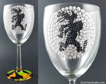 Ready to Ship: Handpainted Goofy Medium Wine Glass with Marble Base