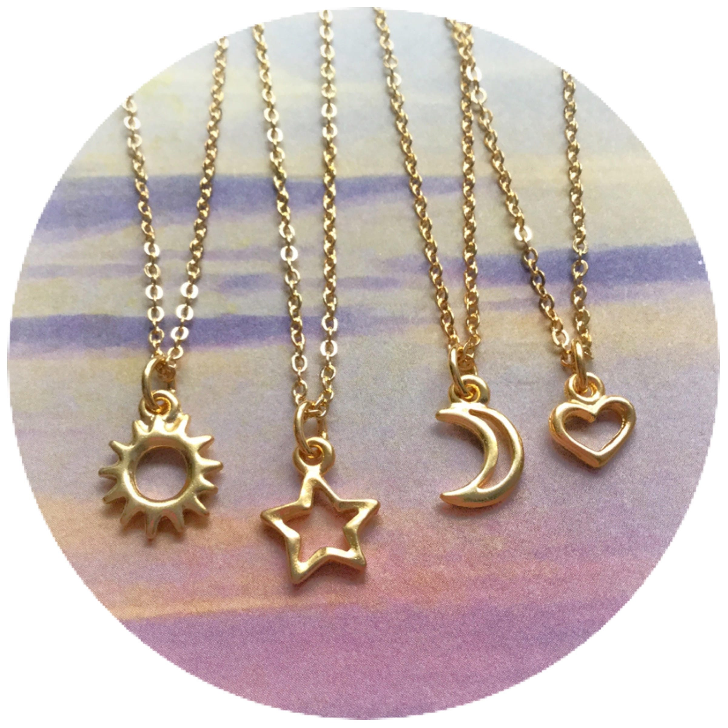 silver sun necklace myshoplah jewelry star or moon dainty