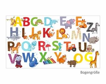 084 Wall Decals alphabet Animals ABC Children's ROOM sticker * Nikima * in 6 verse. Sizes