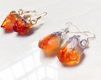 Citrine Earrings // Silver Citrine Earrings // Gold Raw Citrine // Quartz Druzy Dangle Earring // Citrine Druzy Pair Earring (xs96_6)