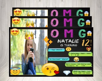 Emoji Invitation, Emoji Icon Chalkboard, Birthday Party Invitation with Photo, Printable Birthday Card, Printable Birthday, Snapchat Emoji