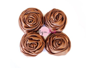 Brown Satin TWISTED Rosettes- You Choose Quantity- Rolled Rosettes- Rolled Rosettes- PrettyinPinkSupply- DIY Supply Shop