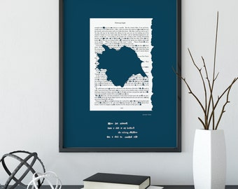 Wuthering Heights   YORKSHIRE MAP   Literature Print   Navy Blue Book Art Print   Emily Bronte   Unique Novel Art   A3-A0 Sizes