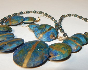 Vintage Blue Green Copper Necklace and dangling earrings, 16""