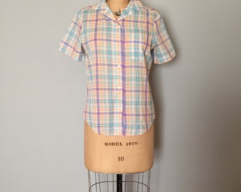 pastel plaid cotton shirt | button down shirt