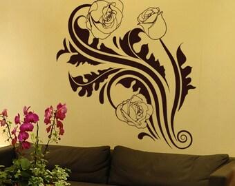Vinyl Wall Decal Sticker Tribal Roses 1238m