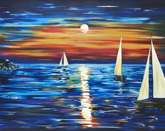 Sailboats, Blue, Oil on Canvas, 100x70 cm, Impressionism art, Sunset