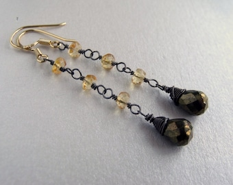 Bronze Spinel and Citrine Black Rhodium Plated Sterling Silver Long Dangle Earrings