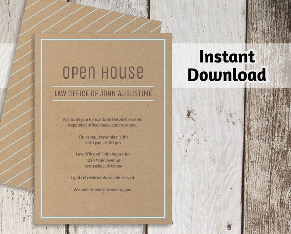 Printable Business Invitation Template Open House Business