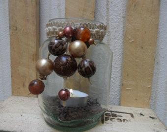 Beaded Tea Light Jar