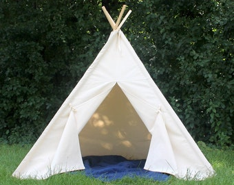Canvas Teepee, Two Sizes That Can Include Window, Ready to Ship, Kids Play Tent, Teepee,  Tie Open, Tie Closed, Poles Included