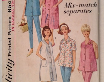 1960s Simplicity Maternity Outfit Pattern 5412, Copyrighted 1964