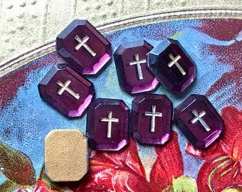 4 Cross cabochons, Western German, Vintage Amethyst Cabochons, Glass cabochons, Gold Cross, Religious cabochons, Christian, 10x12mm #990