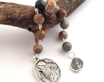 Jasper & Wolf Gratitude Beads // Goddess Prayer Beads // Pagan Prayer Beads