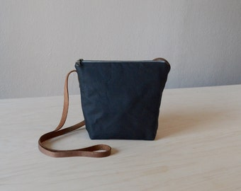 Shoulder Bag in Black Waxed Canvas - Cross Body Purse, Small Day Bag, Crossbody Bag