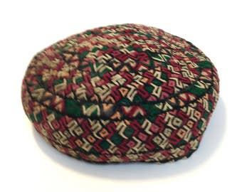 Vintage Turkmen Embroidered Hat  Antique Textile Skullcap Embroidered