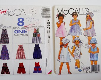 LOT 2 Vintage Girls Summer Dresses, Rompers, Short-Alls, Bonnets, Hats McCall's 7247 9551 Sewing Patterns Child Sizes 4 5 6