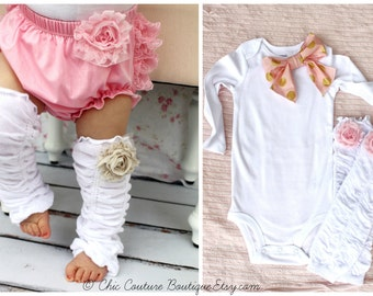 Valentine's Baby Girl Newborn Coming Home Outfit Gift Set of 2 Ruffle Rose Leg Warmers & Bow Bodysuit. 1st Birthday outfit, Easter Spring