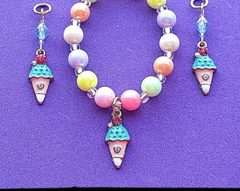 Bracelet: Super Sweet Jeweled Ice Cream Cone charm bracelet with pastel iridescent and glass beads (matching hearing aid charms available)!