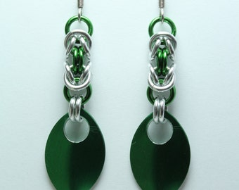 Chainmaille Earrings | Hand Crafted Chainmaille Jewelry | Handmade Earrings | Green and Silver | Anodized Aluminum