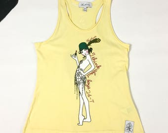 90's Heatherette club kid flapper girl print tank top 1990's racerback cute yellow cotton logo sleeveless shirt / Richie Rich Paris Hilton M