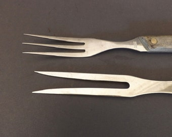 Set of 2 Vintage Burrell and Robeson Meat Forks, Carving Forks, Cutlery, Kitchen Utensils, Cooking Tools, Kitchen Cooking Utensils