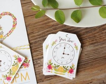 24 Clock Tags - Tea Bag Floral - Around The Clock Shower