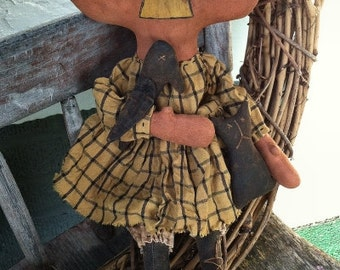 Prue Pumpkin EPATTERN - primitive country halloween cloth doll craft digital download sewing pattern - PDF - 1.99