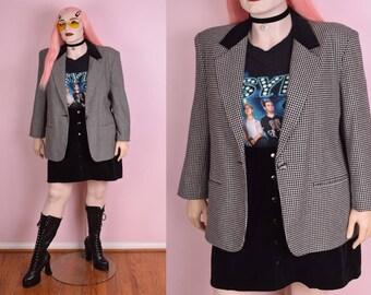 90s Black and White Houndstooth Blazer/ US 16/ 1990s/ Jacket