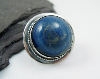 Blue Sparkle Boro Glass and Sterling Silver Statement Ring, Cocktail Ring, Adjustable, Hallmarked