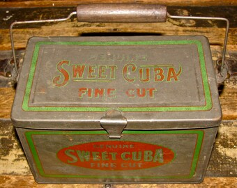 Vintage Tobacco Tin Lunch Pail / Lunch Box