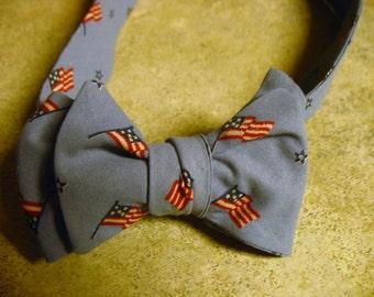 Aaron Vintage Flag Fabric Adjustable Bow Tie
