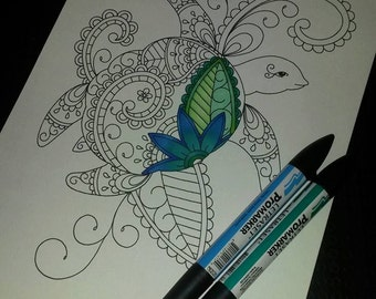 Adult Colouring Page, Paisley Turtle